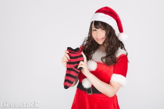 Devostock Beautiful Female Santa Claus Girl Red Gifts 4k