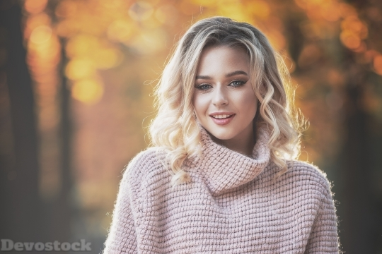 Devostock Beautiful Girl Blond Colorful  Autumn 4k