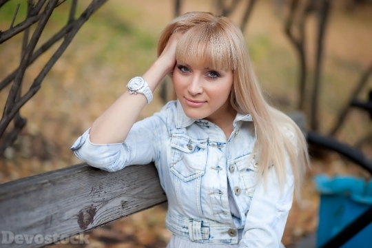 Devostock Beautiful Girl Blond Fashion Wooden Chair 4k