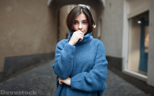 Devostock Beautiful Girl Brown Hair Warm Clothes 4k