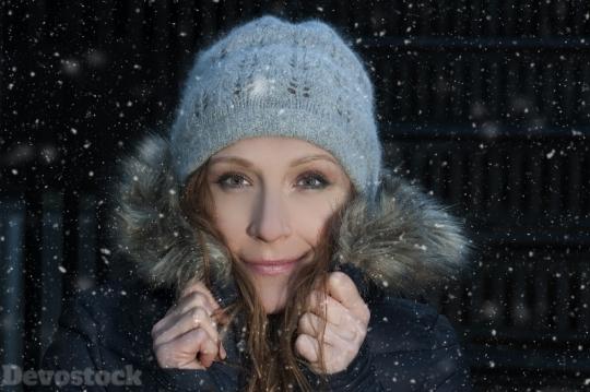 Devostock Beautiful Girl Cap Coat Snow Night 4k Devostock Download
