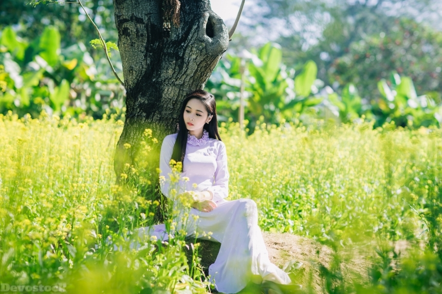 Devostock Beautiful Girl Modest Dress Nature Spring Flowers Green Love 4k