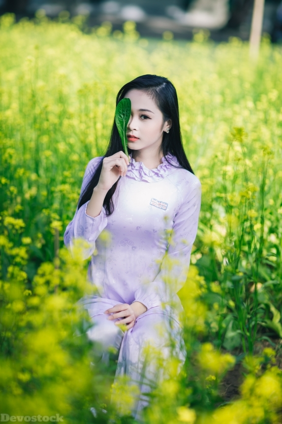 Devostock Beautiful Girl Nature Spring Flowers Green Love Hiding Eyes 4k