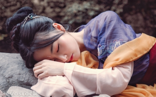 Devostock Beautiful Girl Sleeping Beauty Asian 4k