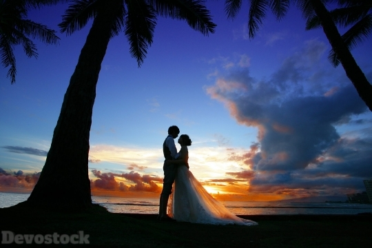 Devostock Beautiful Hawaii Island Wedding Bride Groom 4k