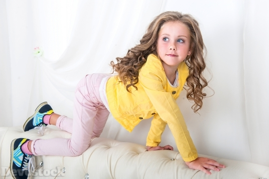 Devostock Beautiful Little Girl Blond Fashion 4k