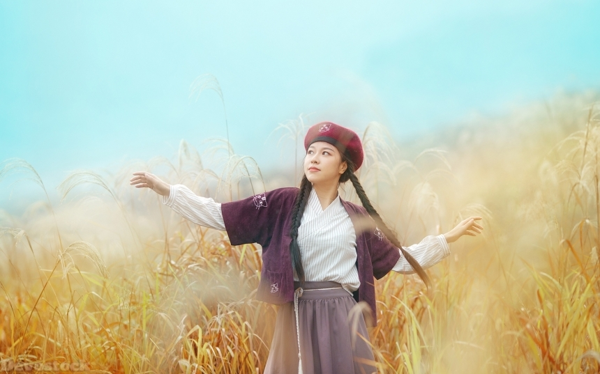 Devostock Beautiful Nature Girl Traditional Dress Hat Happiness 4k
