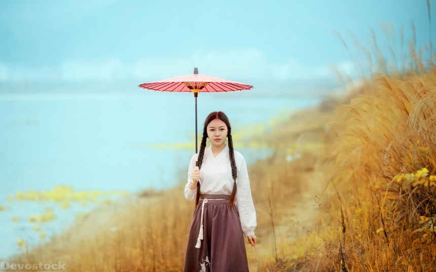 Devostock Beautiful Nature Girl Traditional Dress Umbrella 4k