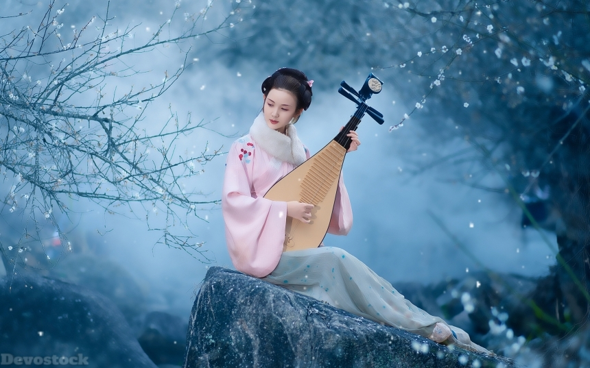Devostock Beautiful Nature Spring Girl Traditional Dress Playing Music 4k