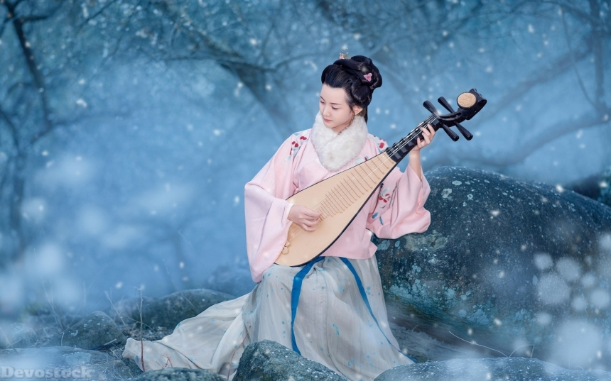 Devostock Beautiful Nature Spring Girl Traditional Dress Playing Music Rock 4k