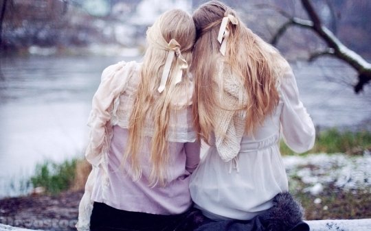 Devostock Beautiful Two Girls Blonde Friendship Long Hair Backside 4k