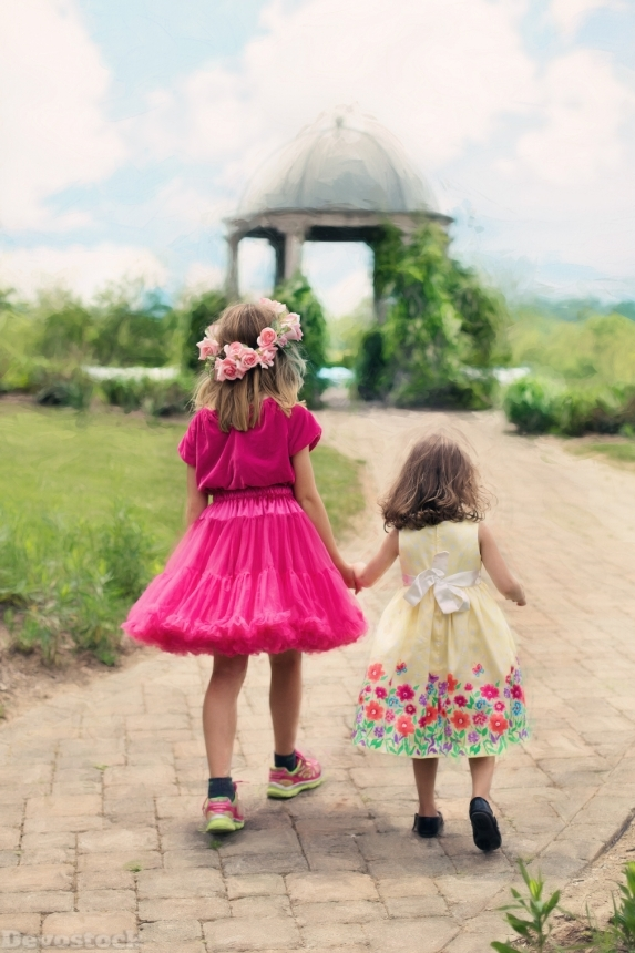 Devostock Beautitful Cute Two Sisters Backside Colorful Dress Clothes Nature 4k