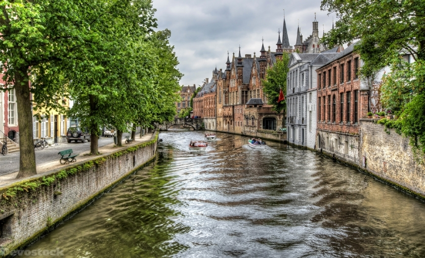 Devostock Belgium Houses Bruges Canal Trees HDR Cities 4k