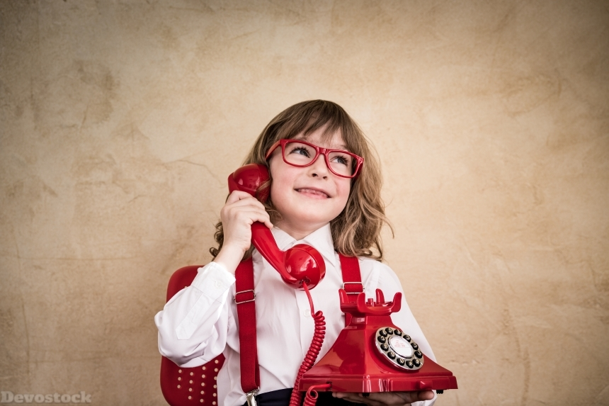 Devostock Boy Telephone Glasses Smile 4K
