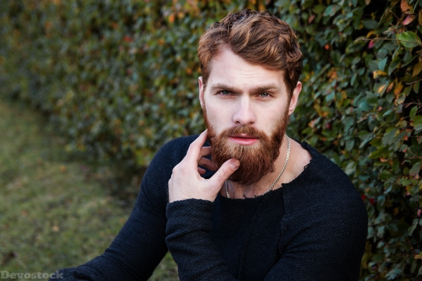Devostock Brown Hair Handsome Man Beard Nature Outdoor Good Looking 4k