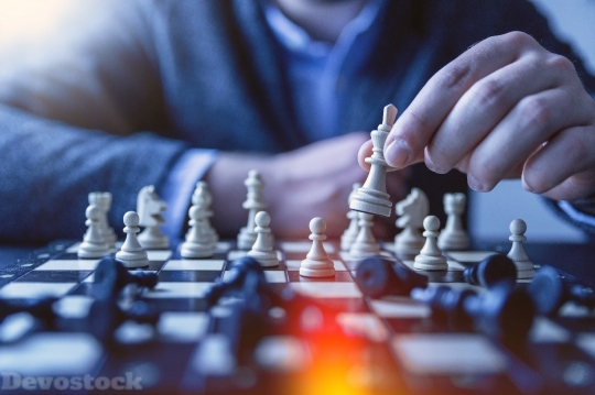 Devostock Chess Planing Playing Business Hands 4K