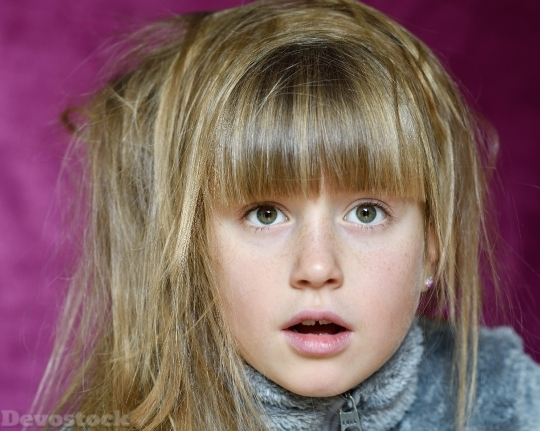 Devostock Child Girl Face Expression 0 4K
