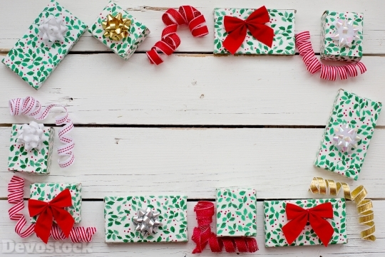 Devostock Christmas Gifts Frame Background Design 4k