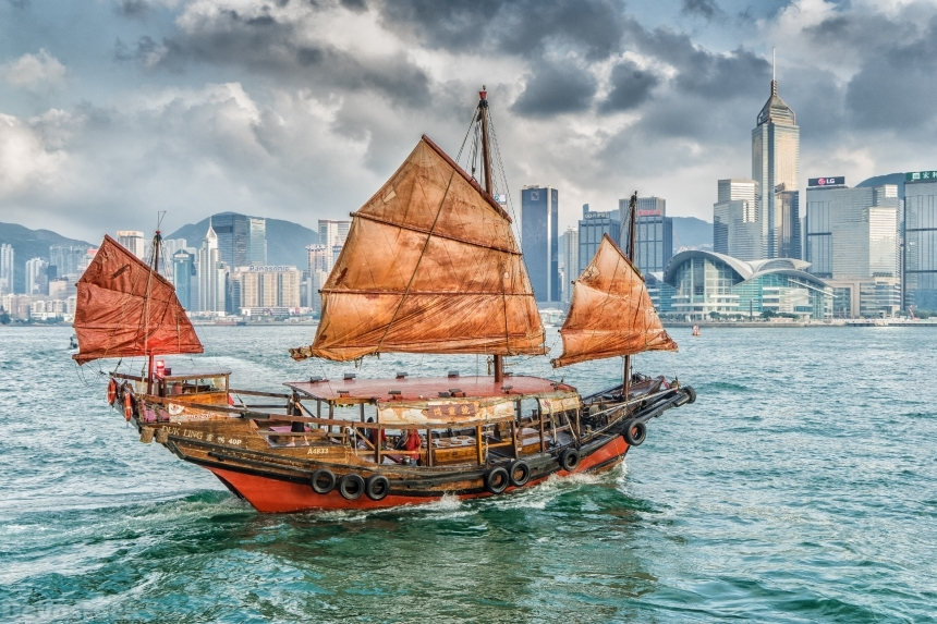Devostock City View Ships Sailing Hong Kong China Kowloon Victoria Harbor 4k