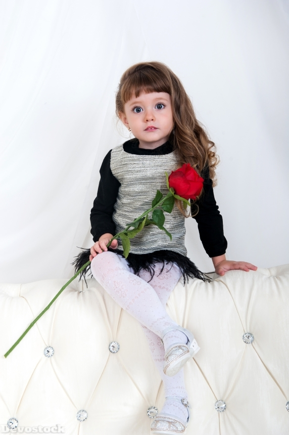 Devostock Cute Kid Little Girl Red Rose 4K