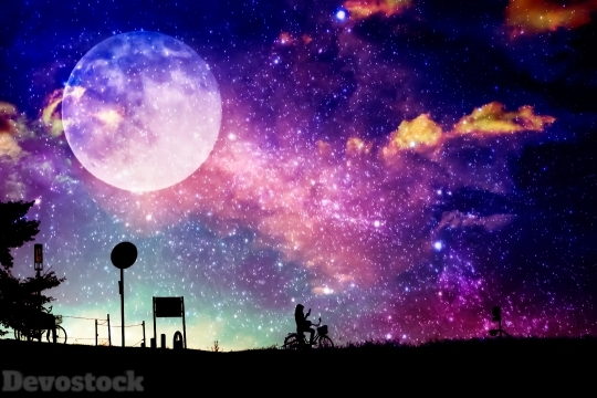 Devostock Digital Arts Design Moon Background Outdoor Purple 4k