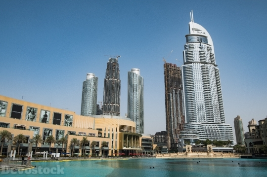 Devostock Dubai Mall Sea Skyscrapers City 4k
