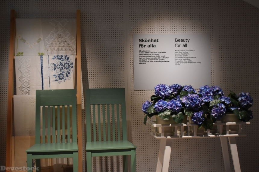 Devostock Exclusive Ikea Museum Sweden Chairs Flowers 4k