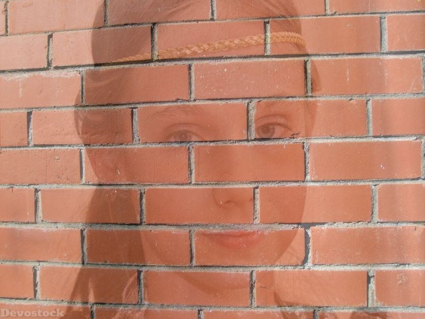 Devostock Exclusive Wall 3D Texture Little Girl Digital Art 4k