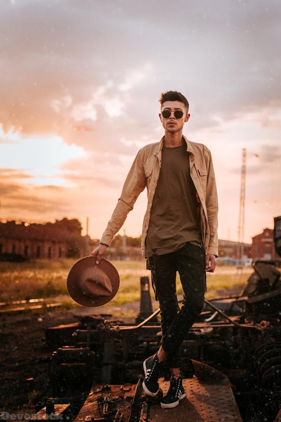 Devostock Fashion Fedora Golden Hour Man  Sunset 4k