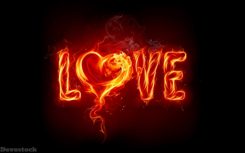 Devostock Fire Flame Word Love Compassion Heart Sign 4k