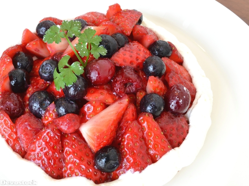 Devostock Food Sugar Sweet Strawberry Blueberry Cake 4k