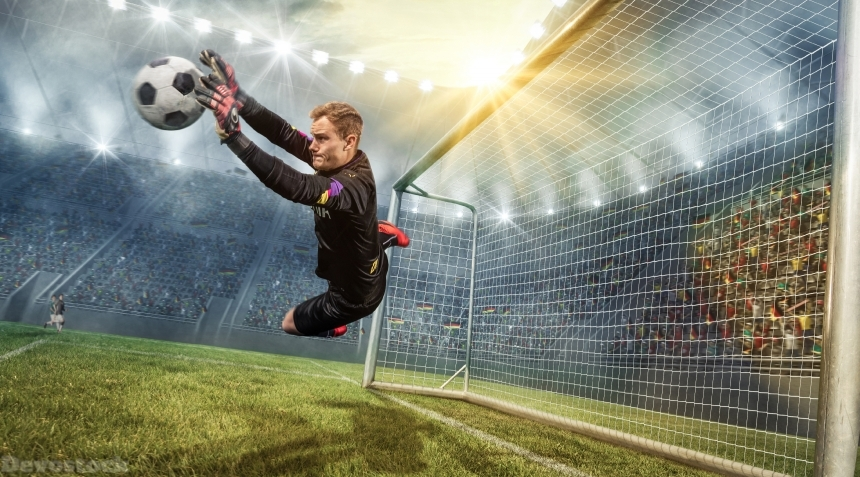 Devostock Footbal Goalkeeper (Football) Men Ball Jump 4K