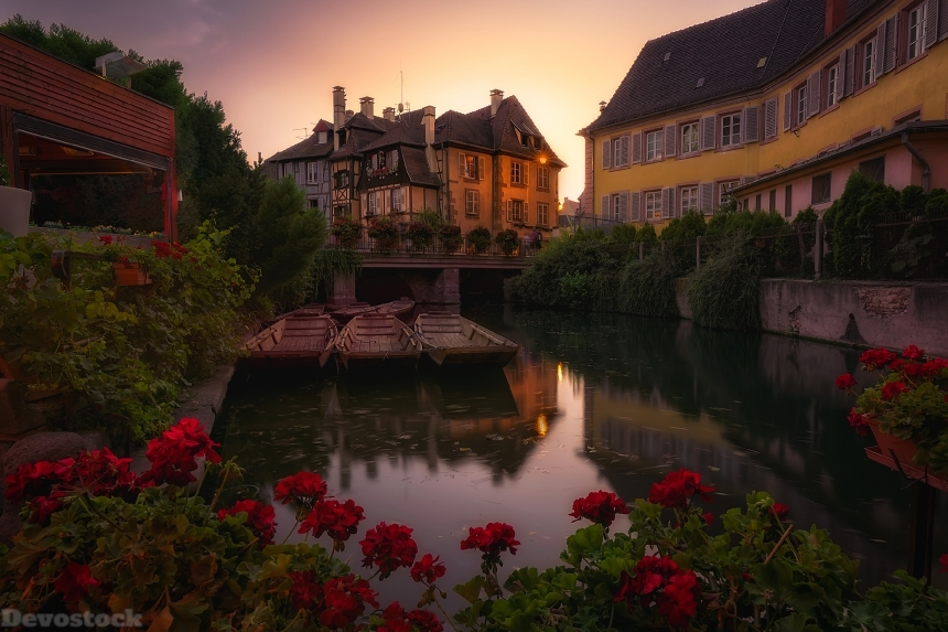 Devostock France Houses Evening Marinas Begonia Colmar Canal 4K