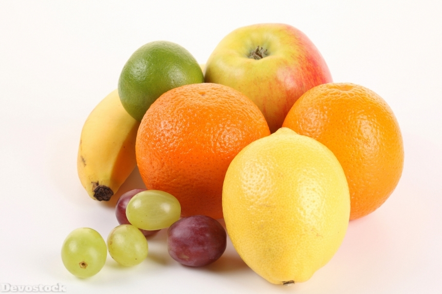 Devostock Fruit Lemons Orange Fruit Grapes White Background 4K