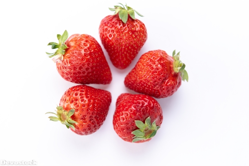 Devostock Fruits Food Five Healthy Strawberry White Background Two Sorts 4k