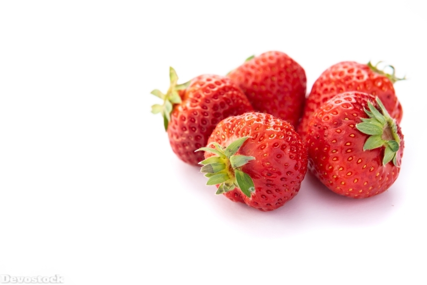 Devostock Fruits Food Healthy Strawberry White Background Five 4k