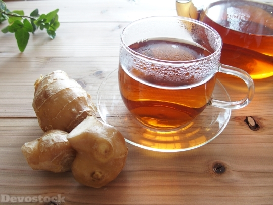 Devostock Ginger Tea Winter Table Health 4k