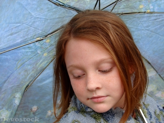 Devostock Girl Pensive Rain Umbrella 4K