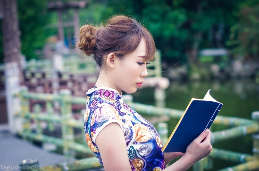 Devostock Girl Woman Nature Reading Japanese Traditional Dress 4k