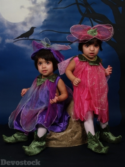 Devostock Halloween Costume Twins Toddlers 4K