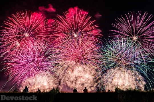 Devostock Huge Amazing Fireworks Colorful 4k