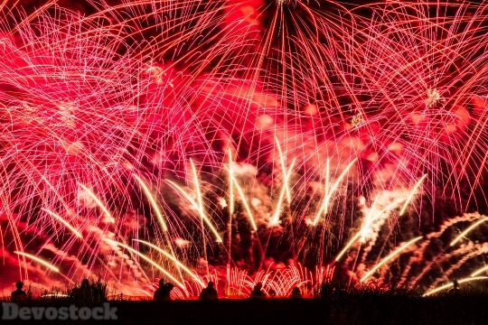 Devostock Huge People Shadow Fireworks Red 4k