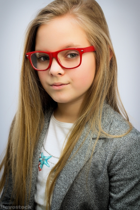 Devostock HUNGARIAN GIRL WEARING RED FRAME GLASSES 4k