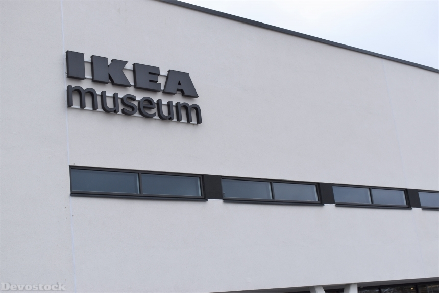 Devostock Ikea Museum Logo Outside Building Sweden 4k