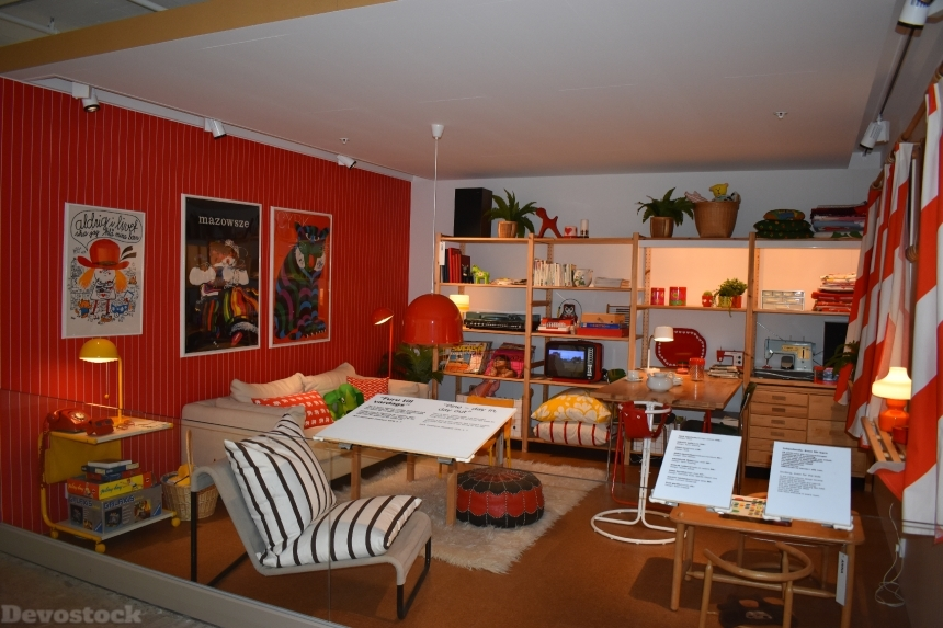 Devostock Ikea Museum Sweden Red Room 4k