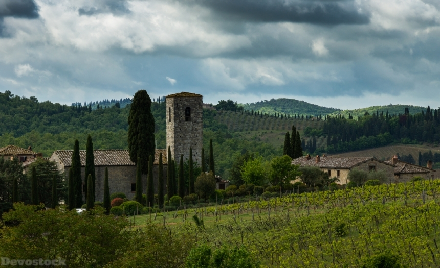 Devostock Italy Tuscany Houses Fields Chianti Hill 4k
