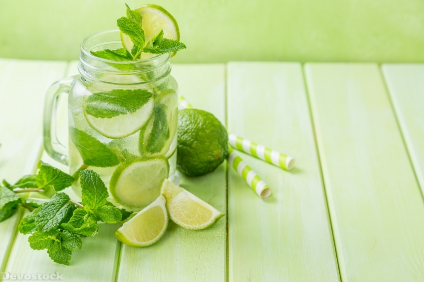 Devostock Juice Lime Lemonade Wood planks Jar Mentha Foliage Food 4k