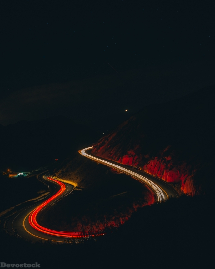 Devostock Light Streaks Long Exposure Road 4k