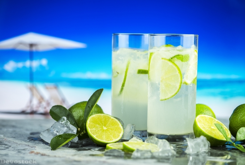 Devostock Lime Juice Ice Nature Beach Sea Water 4k