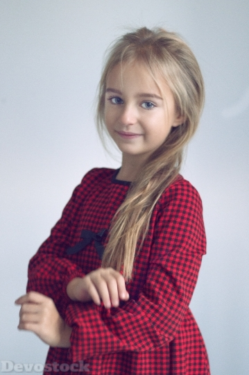 Devostock Little Beautiful Innocent Girl Standing 4k
